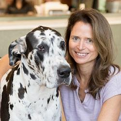 Dr Bonnie Cline and her great dane in the vet clinic in Richmond, Virginia